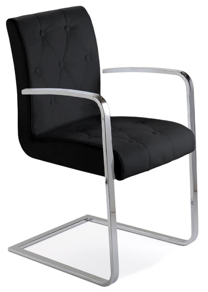 Sedia in metallo cromato seduta e schienale capitonn idfdesign - Sedie ufficio padova ...