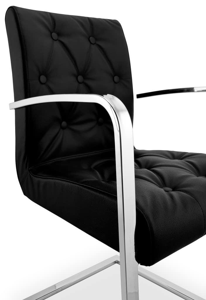 Sedia in metallo cromato seduta e schienale capitonn - Sedie ufficio padova ...