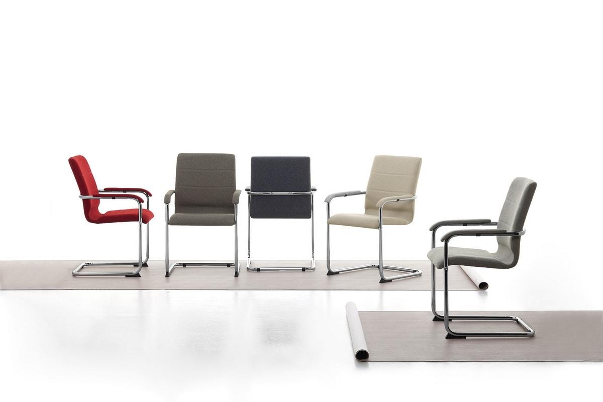 Sedia visitatore in metallo rivestimento in eco pelle for Rivestimento sedie
