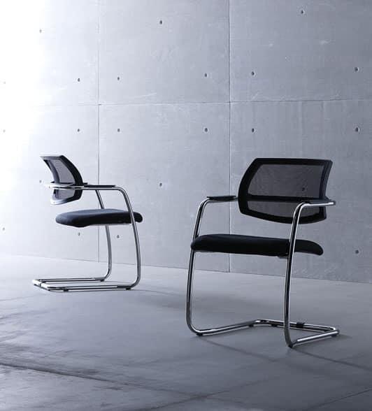 Sedia visitatore con struttura in metallo per sala attesa for Fenice design sedie ufficio