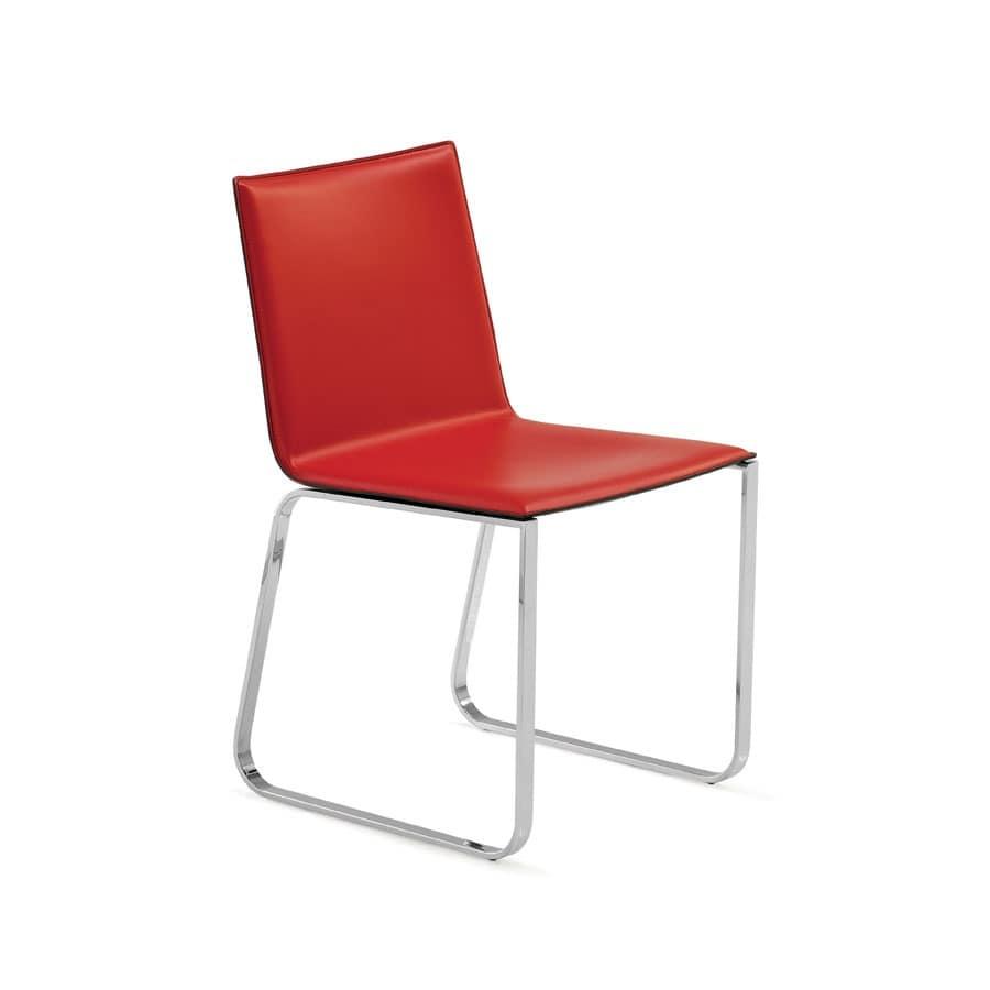 Sedia visitatore in metallo lucido e in cuoio per for Studio design sillas