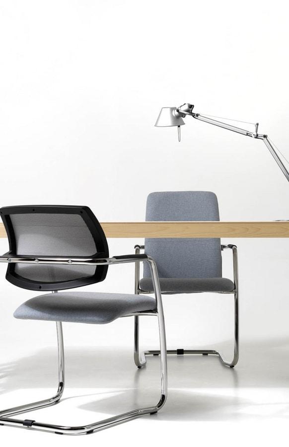 Social rete, Sedia moderna, seduta in poliuretano, schienale a rete
