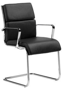 Teknik-C slitta, Comoda sedia visitatore per ufficio, con cuscini in pelle