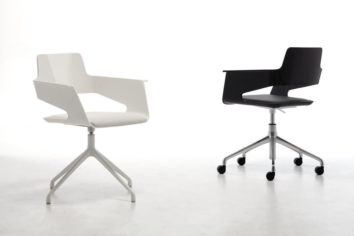 B32 SP, Poltroncina girevole, design moderno, scocca in nylon lucido