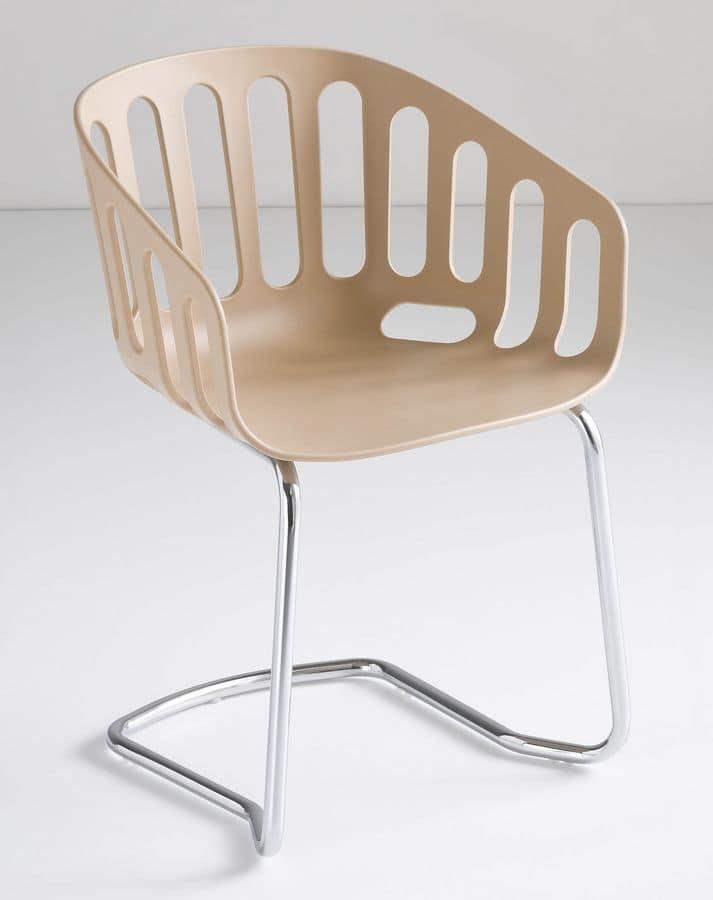 Basket Chair CTL, Sedia visitatore, base in metallo, scocca in tecnopolimero