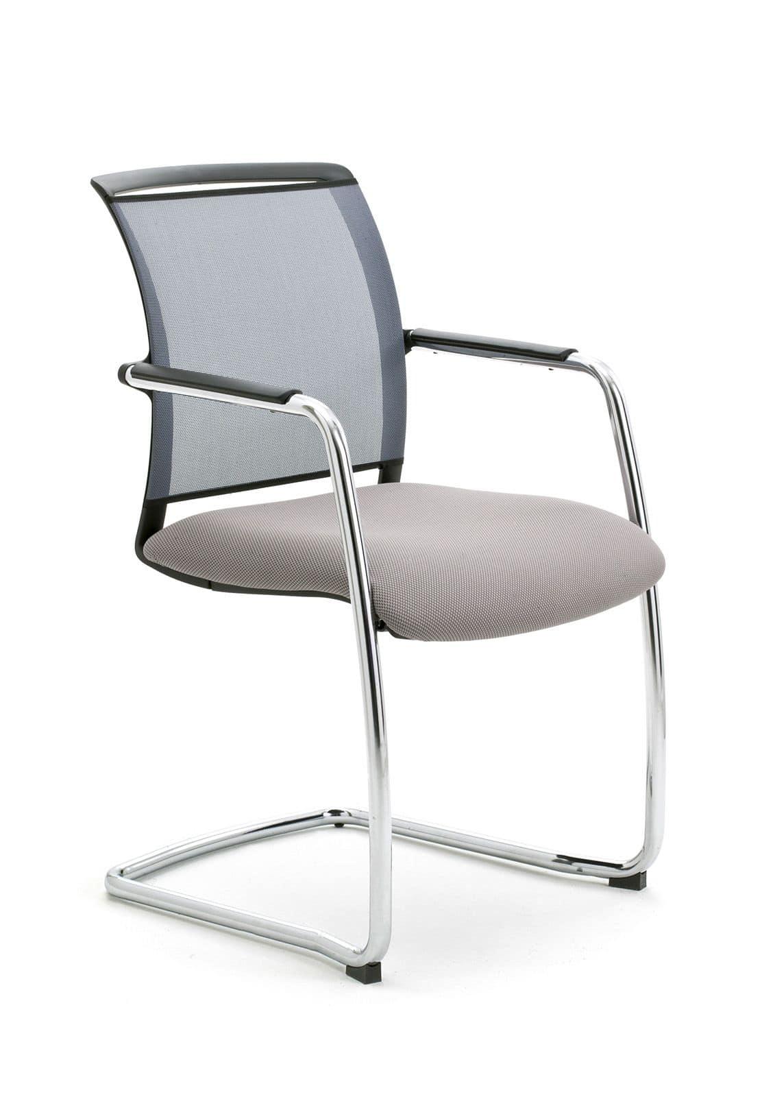 Sedia a slitta per ufficio con schienale in rete idfdesign for Sedie ufficio