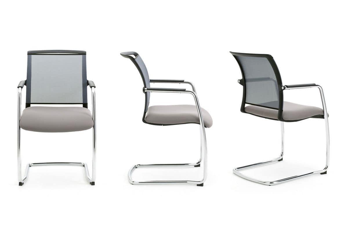 Sedia a slitta per ufficio con schienale in rete idfdesign for Sedie ufficio design