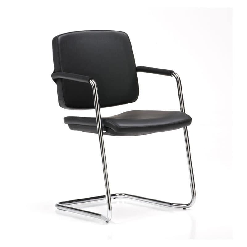 Sedia visitatore impilabile con braccioli rivestiti for Design sedia ufficio