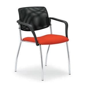 Laila 0583L, Sedia con schienale in rete, per sale riunioni e uffici