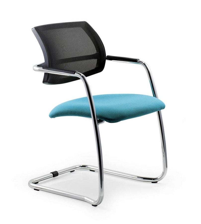 Sedia a slitta con schienale in rete per uffici eleganti - Schienale sedia ...