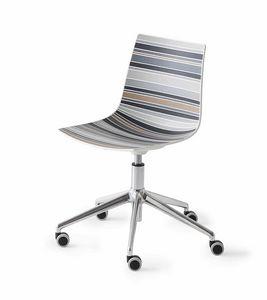 Colorfive 5R, Sedia design base in metallo con ruote, scocca multicolore