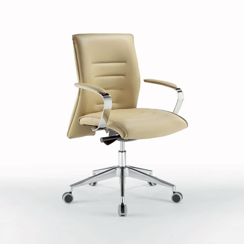Sedia ufficio operativa in metallo cromato con ruote - Sedia con ruote ...
