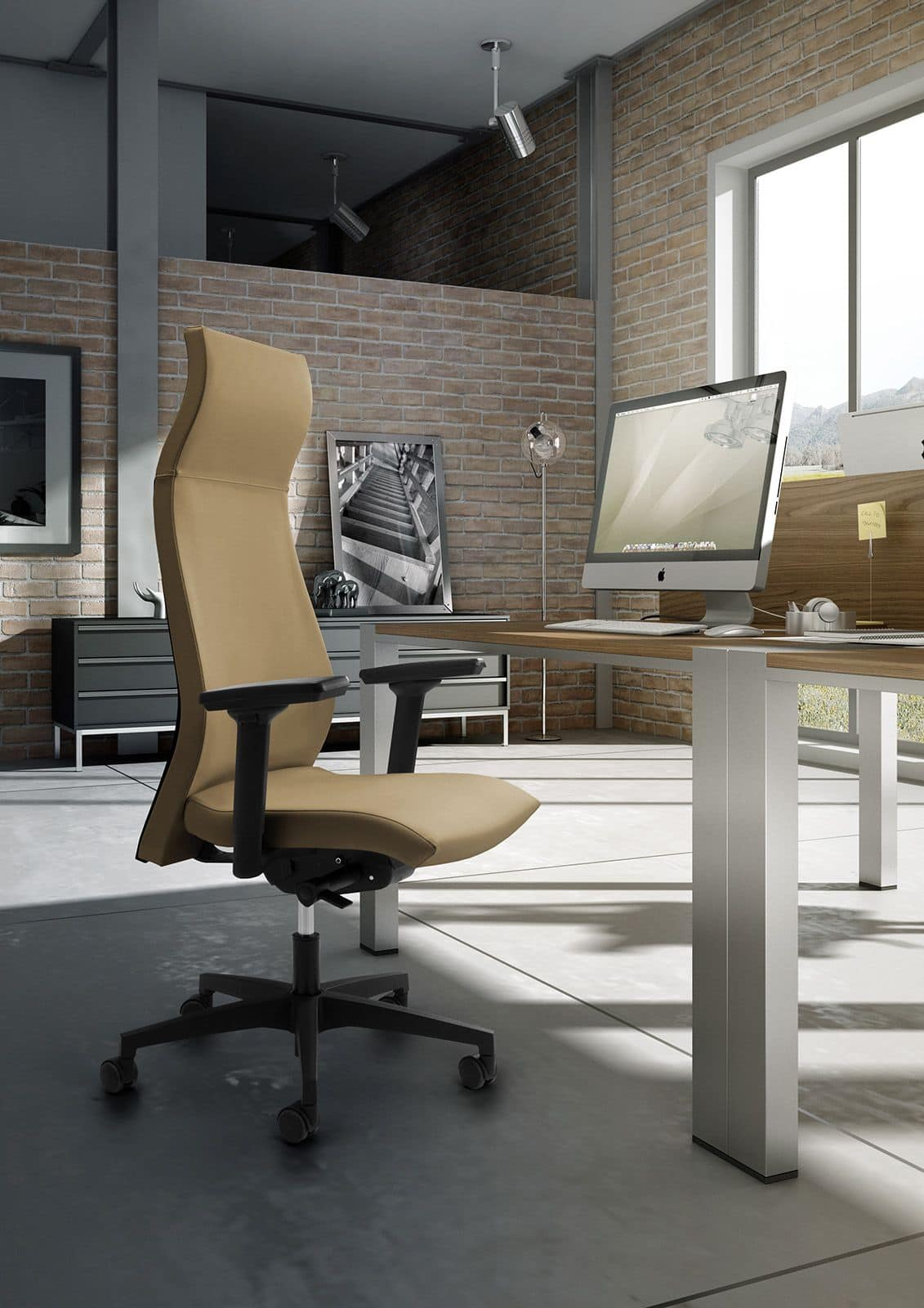 Sedia per ufficio con schienale alto e poggiatesta idfdesign for Sedie ufficio design