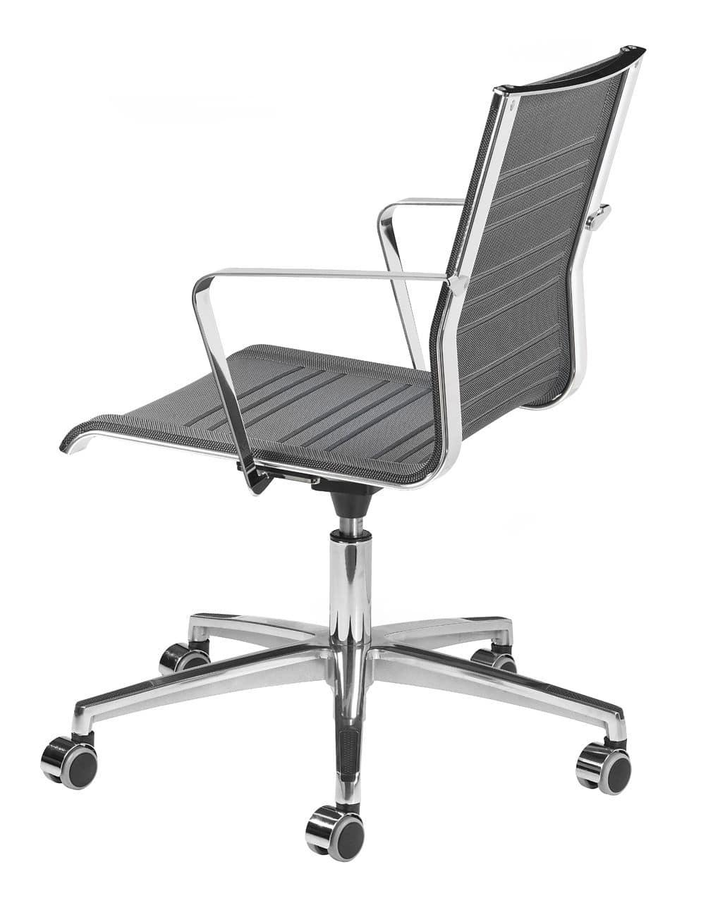 Sedia operativa con ruote struttura in metallo cromato for Fenice design sedie ufficio