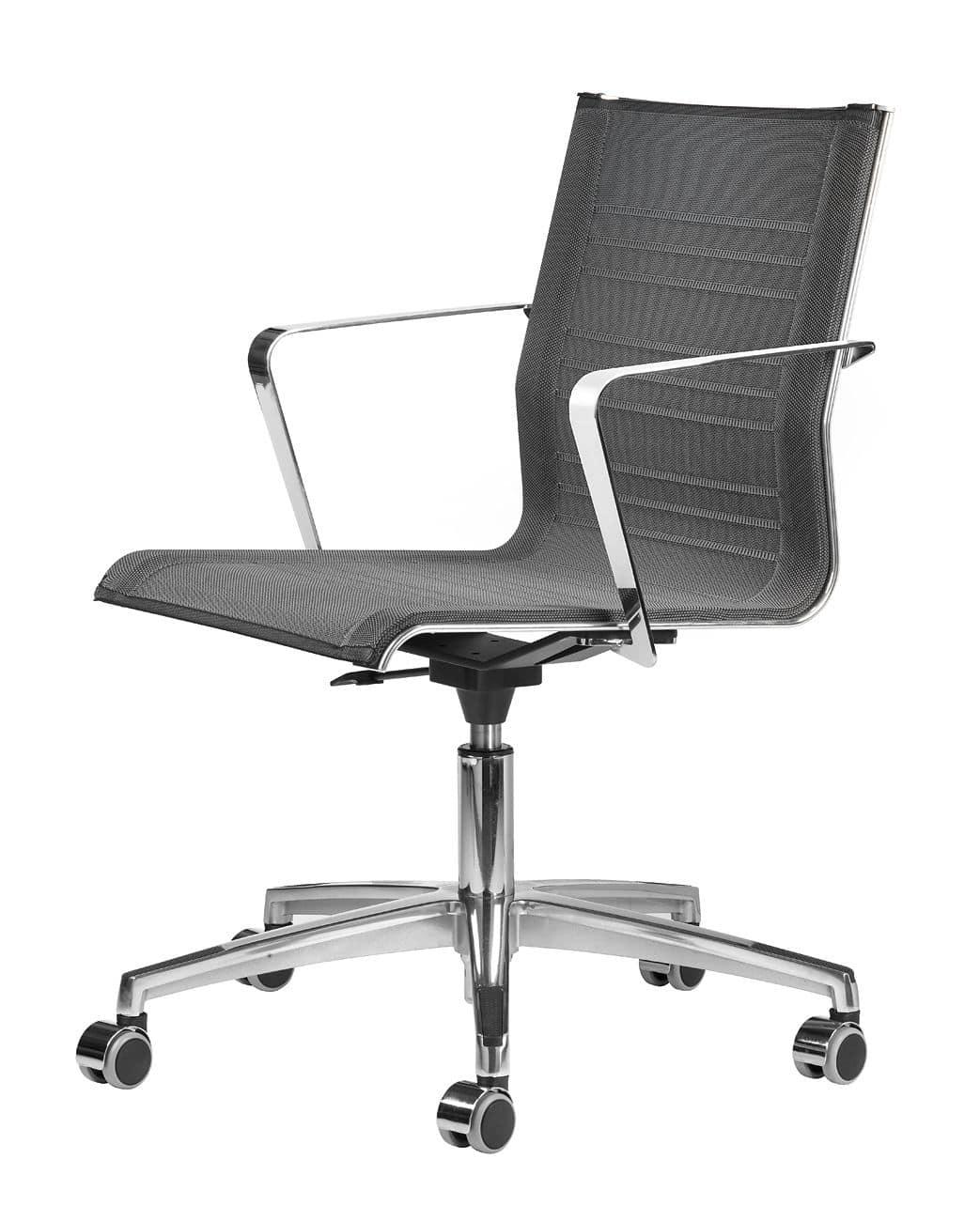 Sedia operativa con ruote struttura in metallo cromato for Amazon sedie ufficio