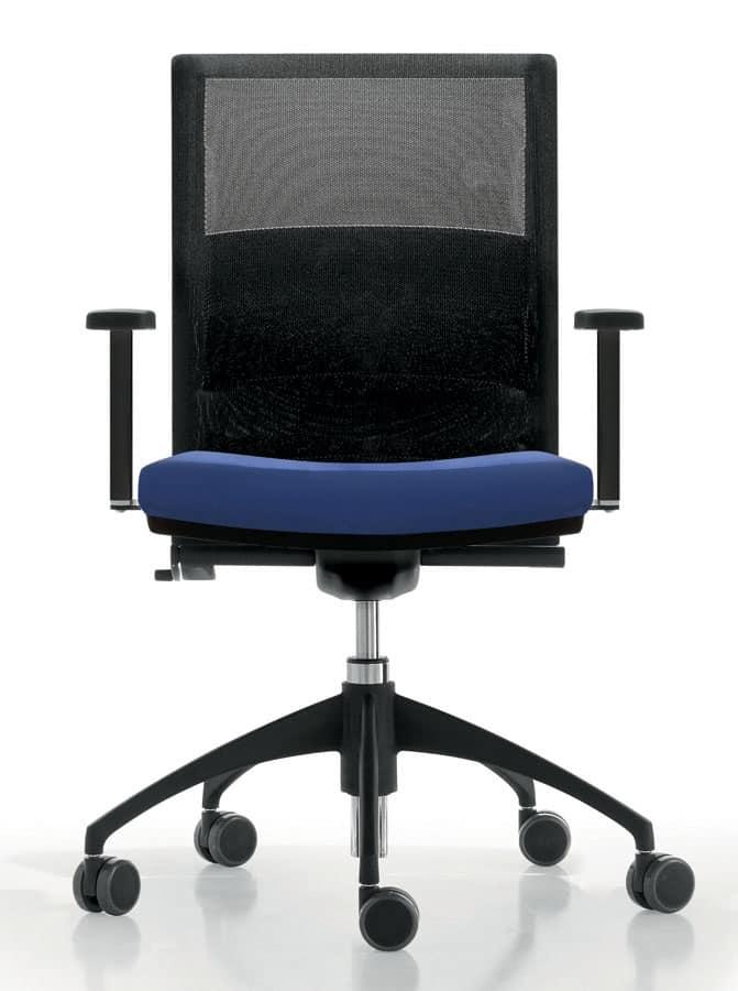 Sedia operativa per ufficio con ruote schienale in rete for Sedia ufficio alta