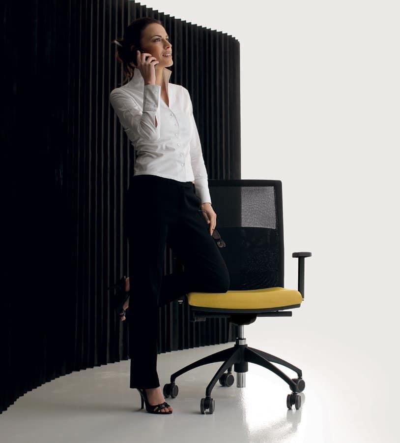 LA MESH, Sedia operativa per ufficio, con ruote, schienale in rete