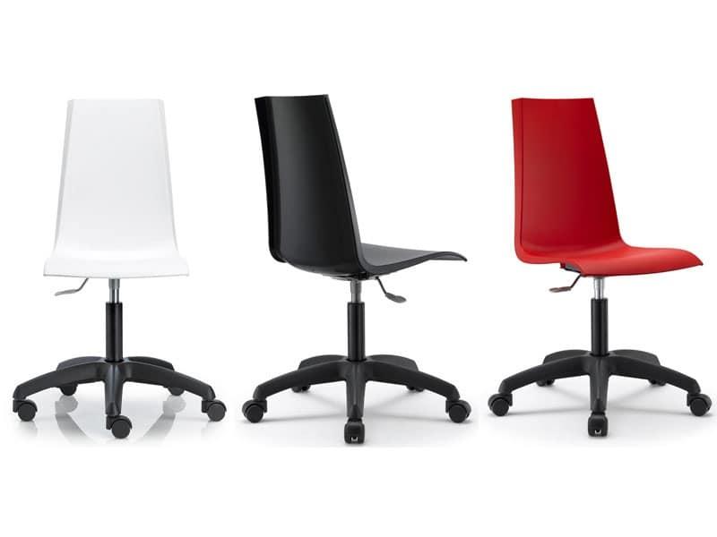Sedia per ufficio girevole e regolabile scocca in polipropilene