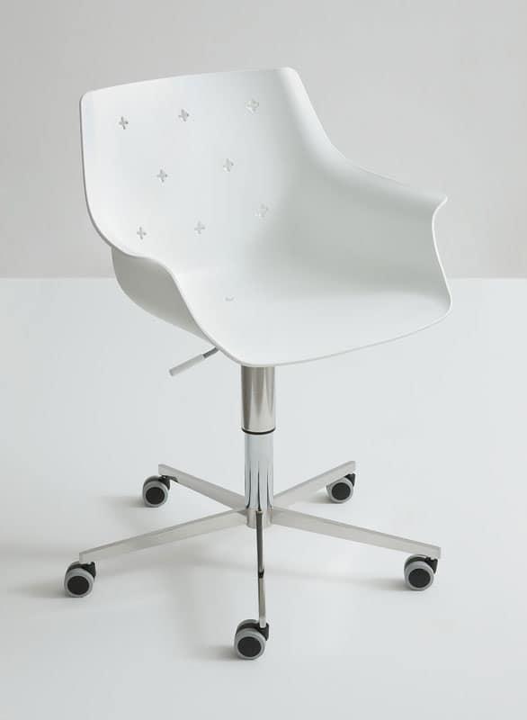 Sedia Design Regolabile.Sedia Design Regolabile Con Ruote Scocca In Tecnopolimero