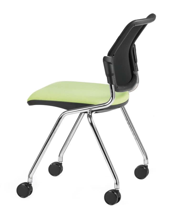 Sedia operativa per ufficio con 4 gambe con ruote | IDFdesign