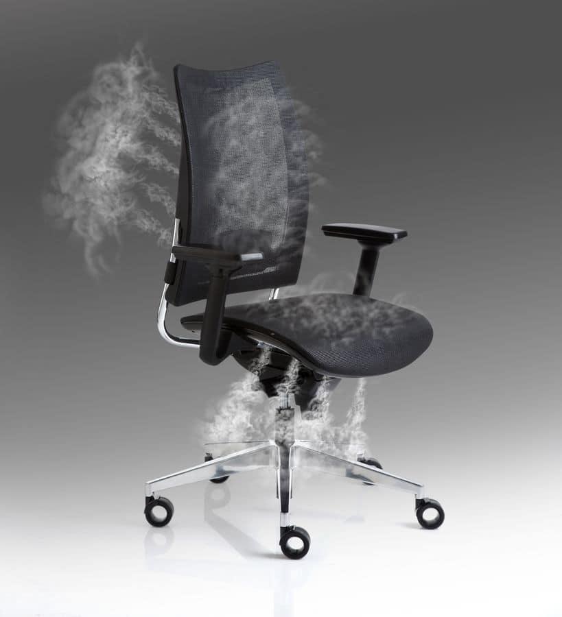 Sedia per ufficio con braccioli e ruote schienale a rete for Sedia ufficio ruote