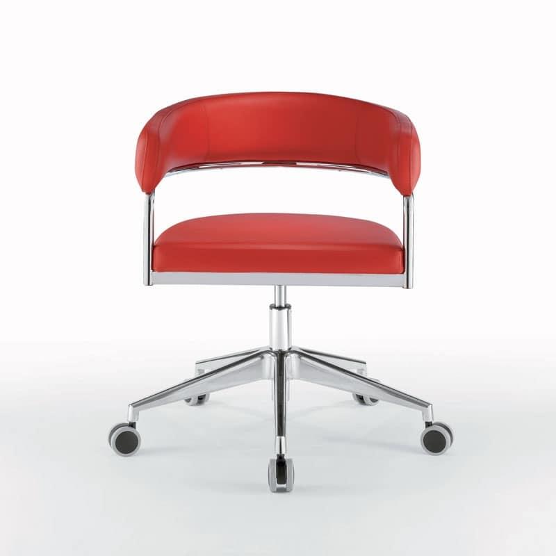 Sedia ufficio con ruote struttura cromata ruote gommate for Design sedia ufficio