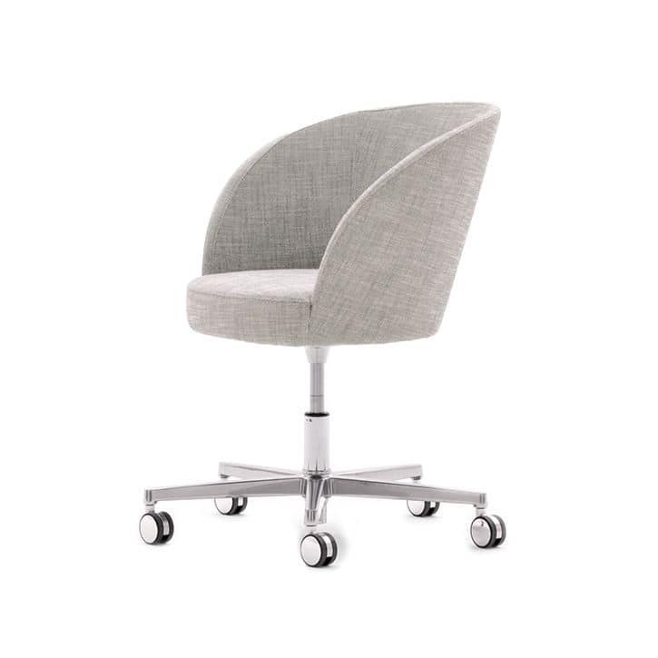 Poltroncina moderna scocca imbottita base in metallo con for Sedie ufficio design