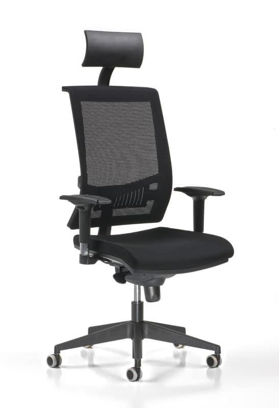 sedia direzionale con ruote braccioli e poggiatesta