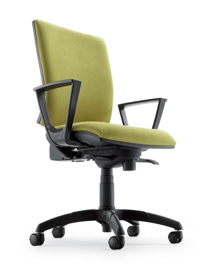 Sedia operativa tapezzata con braccioli e base cromata for Amazon sedie ufficio