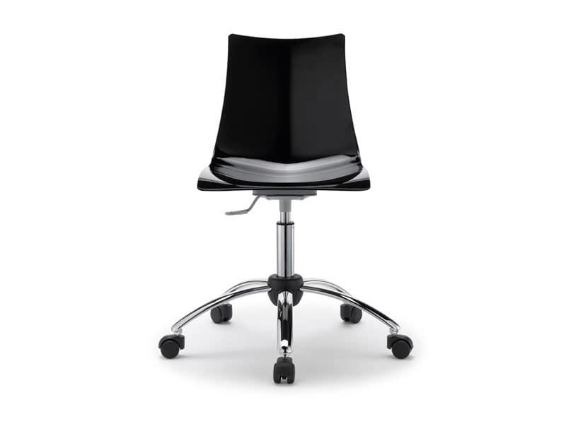 Sedia in acciaio e policarbonato con ruote per ufficio idfdesign
