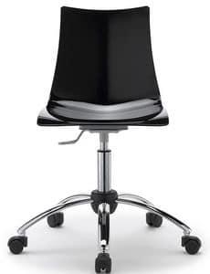 Zebra, Sedia per ufficio girevole e regolabile, seduta in policarbonato
