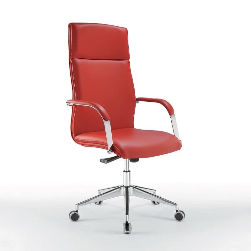 Sedia direzionale dalla linea raffinata con ruote idfdesign for Fenice design sedie ufficio