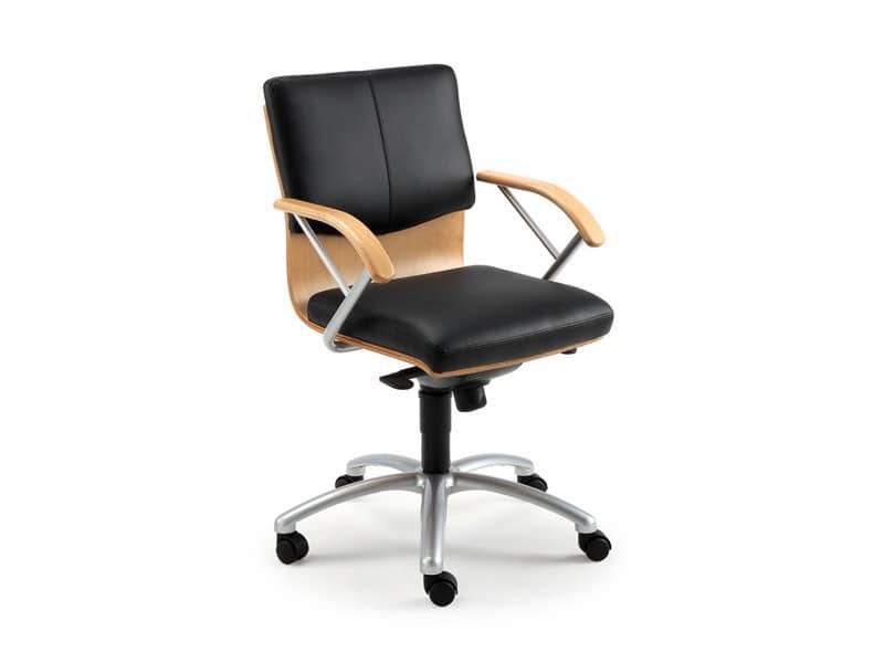 Ducale Lux direzionale 46320, Poltrona per ufficio con scocca in legno e imbottitura in pelle