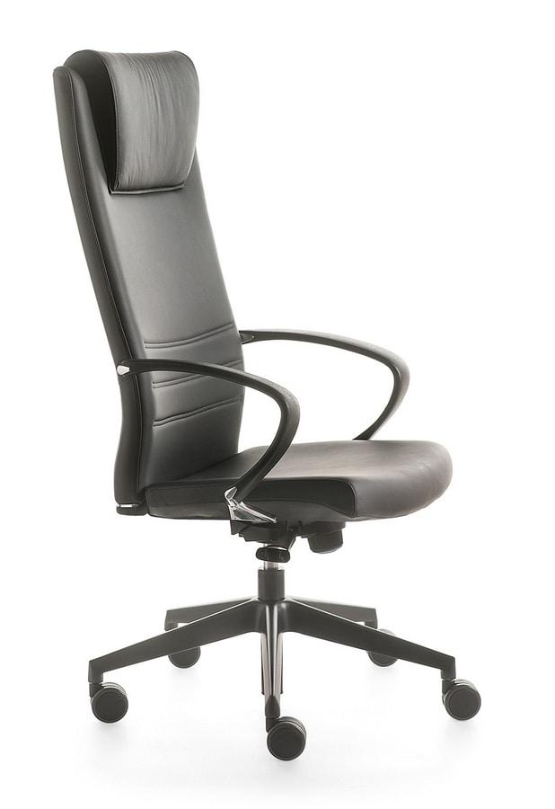 Sedia direzionale con schienale alto con rotelle idfdesign for Amazon sedie ufficio