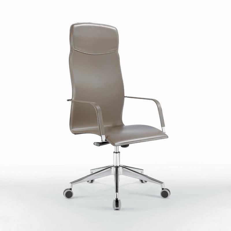 Sedia per ufficio completamente rivestita in cuoio idfdesign for Sedia ufficio alta