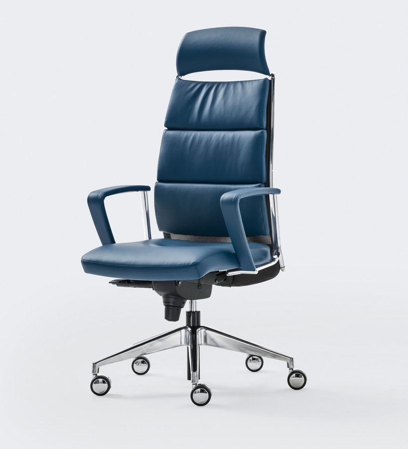 LINK XPLUS, Poltrona imbottita per ufficio, schienale alto, ideale per utilizzo prolungato