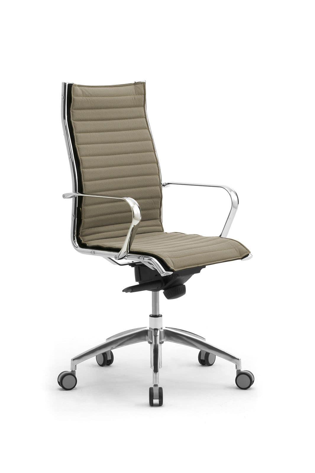 Sedia presidenziale per ufficio in alluminio cromato for Sedie a poltrona