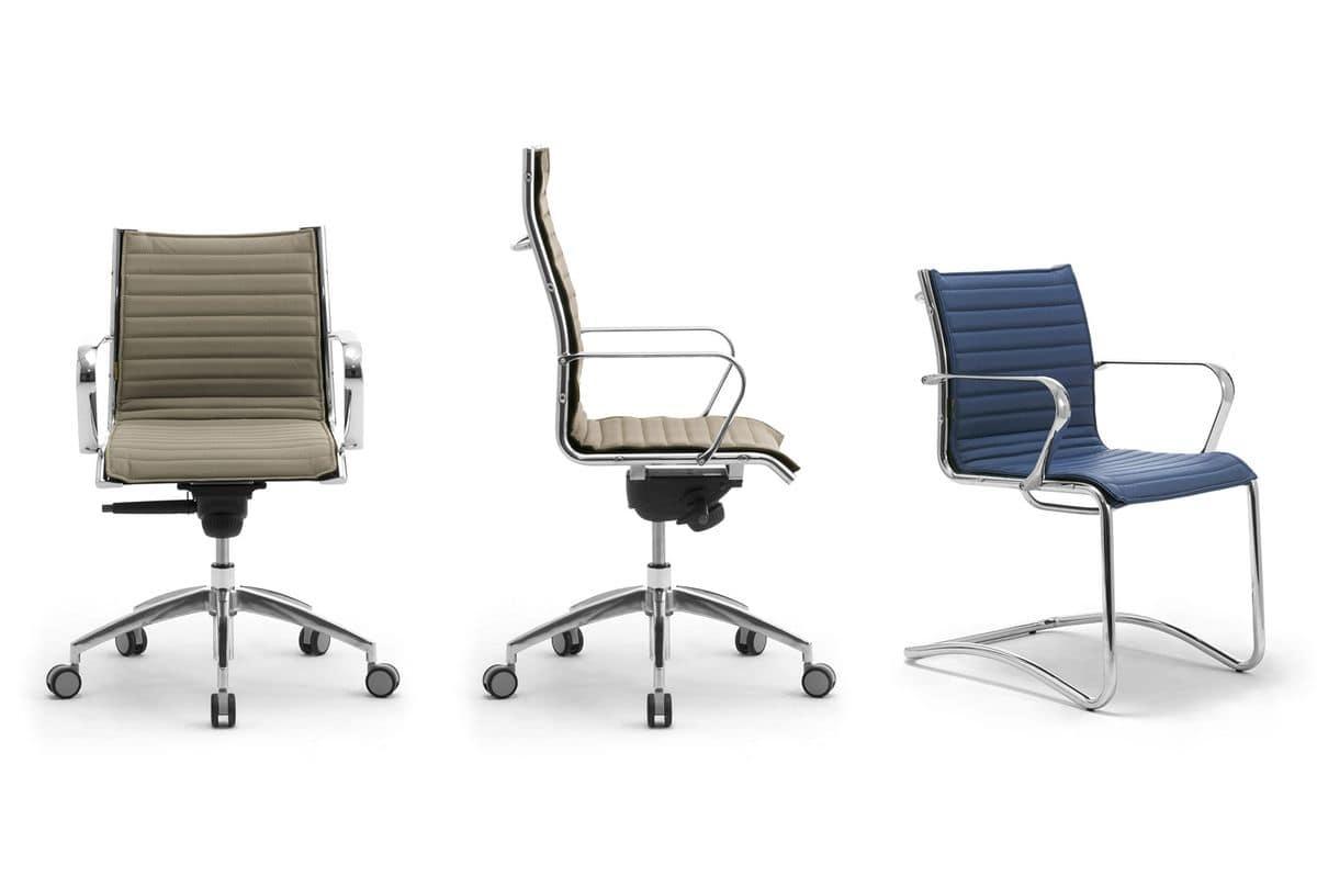 Origami IN presidenziale 70110M, Sedia presidenziale per ufficio, in alluminio cromato