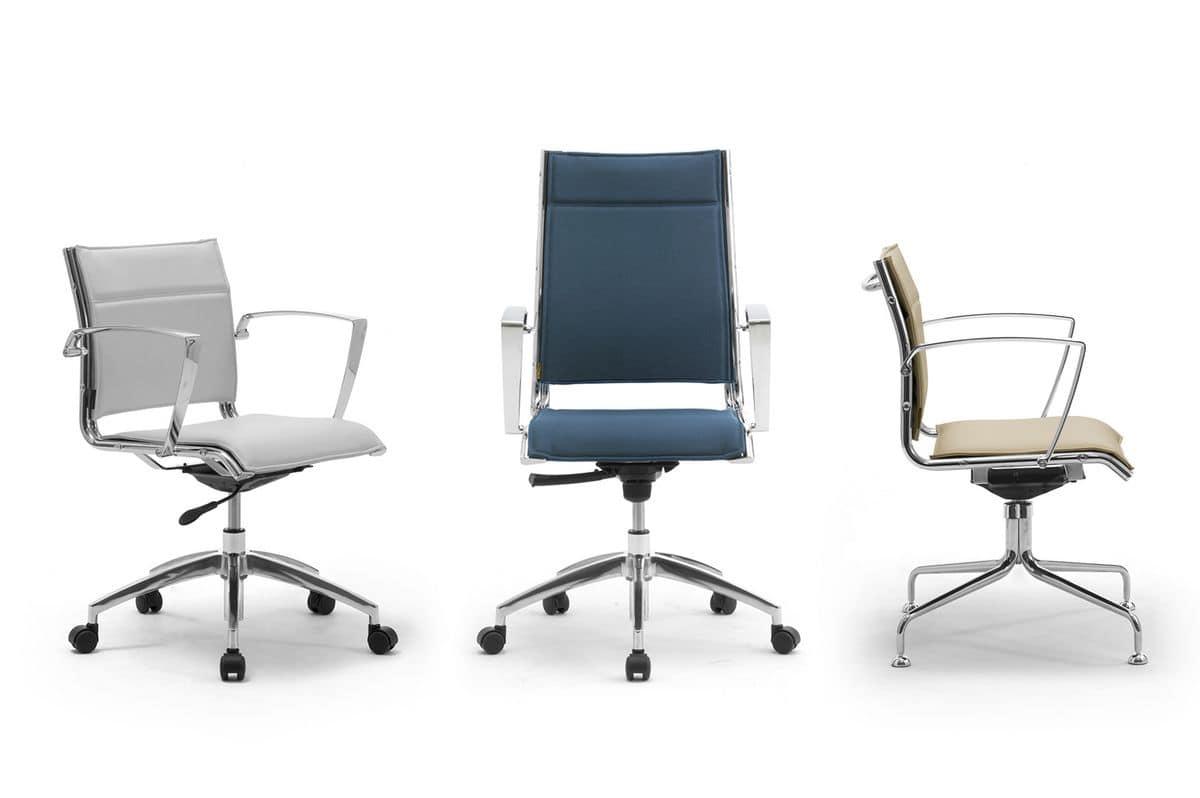 Sedia imbottita per ufficio con braccioli in alluminio for Design sedia ufficio