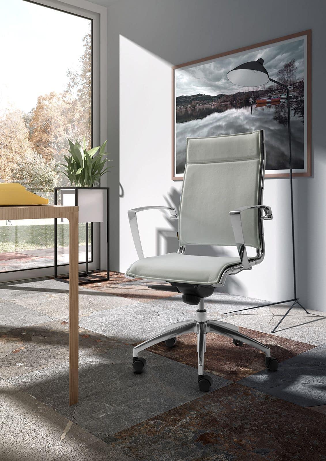 Sedia imbottita per ufficio con braccioli in alluminio for Ufficio architetto design