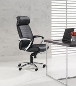 Plus, Sedia direzionale alta per ufficio, braccioli regolabili