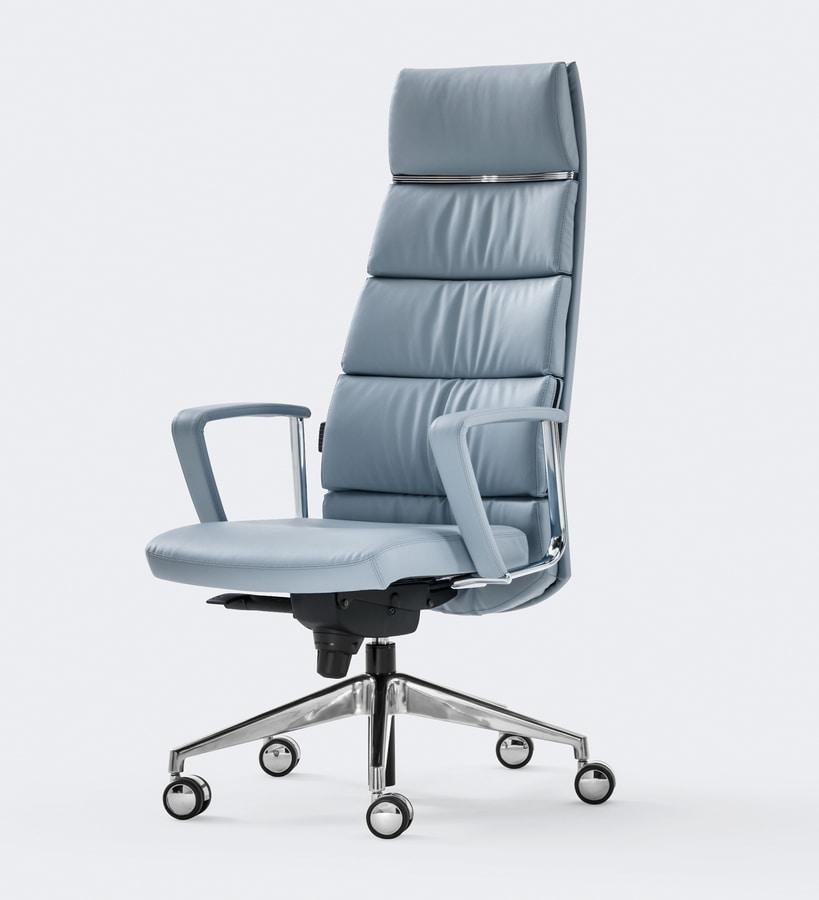 Poltrona in pelle raffinato design per ufficio for Poltrone ufficio prezzi