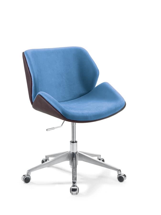Sedia ufficio con ruote imbottita e rivestita in eco for Sedie ufficio design outlet