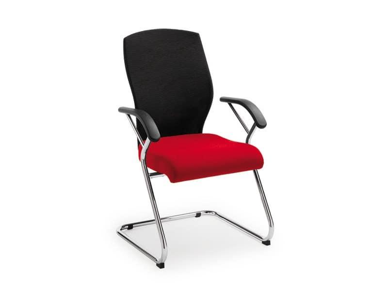 Egonomic visitatore 53330, Sedia con schienale alto in rete, per uffici
