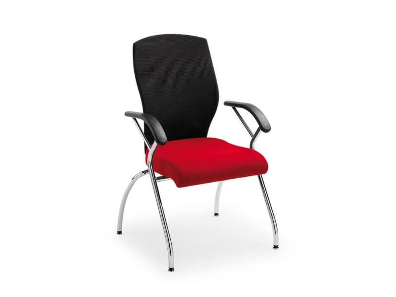 Egonomic visitatore 53360, Sedia per ufficio con braccioli e schienale in rete