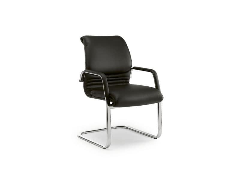 Sedia per ufficio in metallo cromato rivestimento in for Pelle per rivestimento sedie