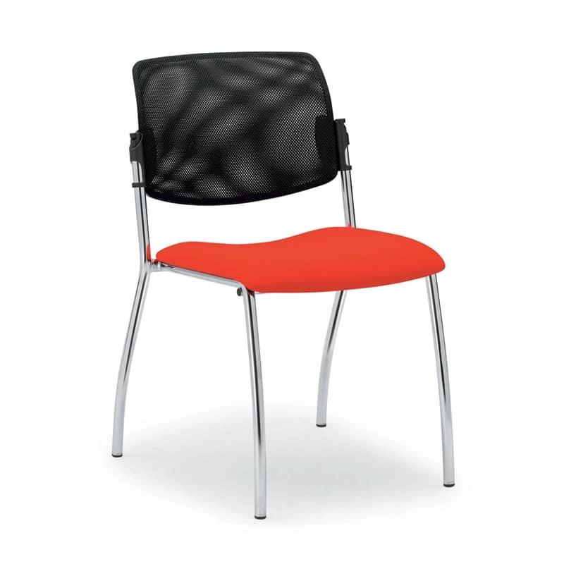 Sedia con schienale in rete per sale riunioni idfdesign for Sedie ufficio design