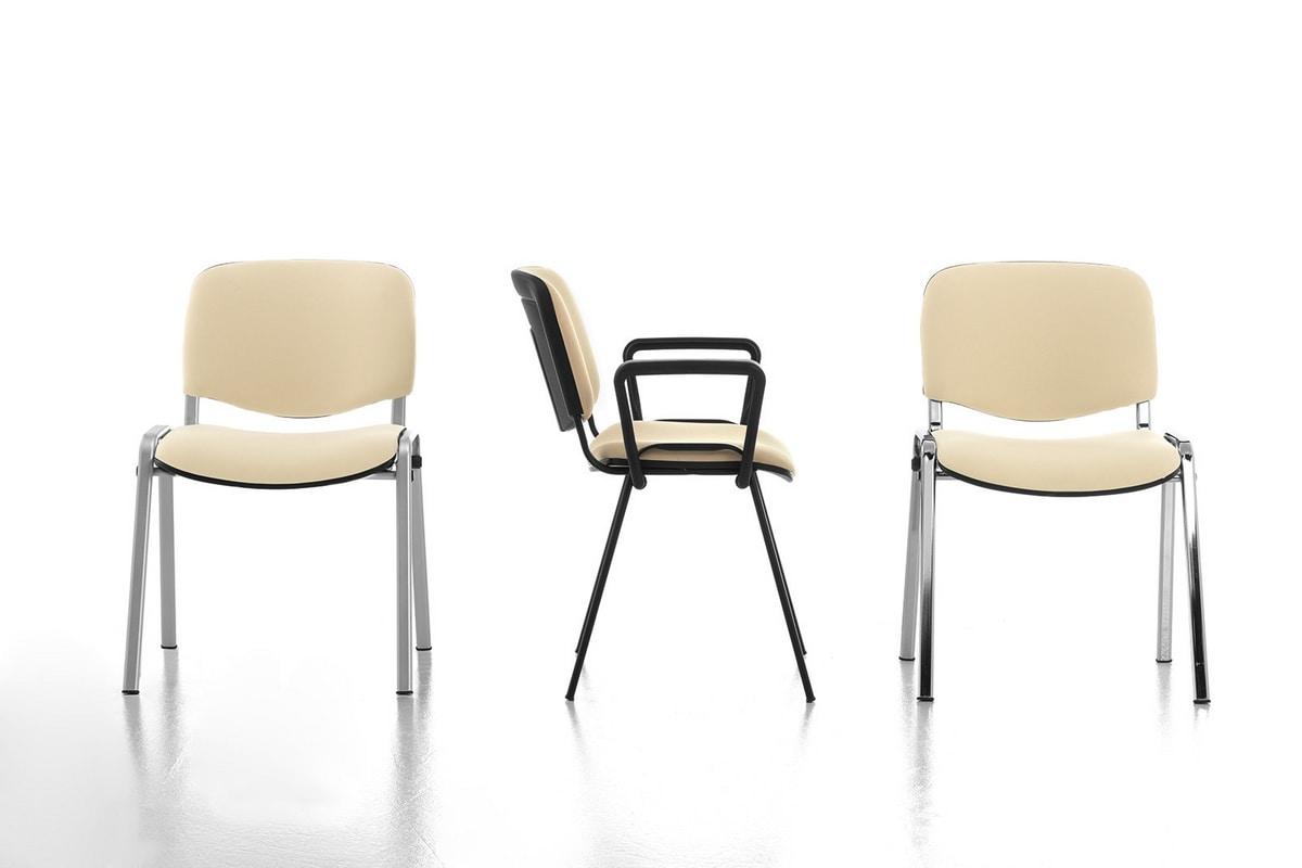 Sedia semplice imbottita per ufficio, base in metallo  IDFdesign