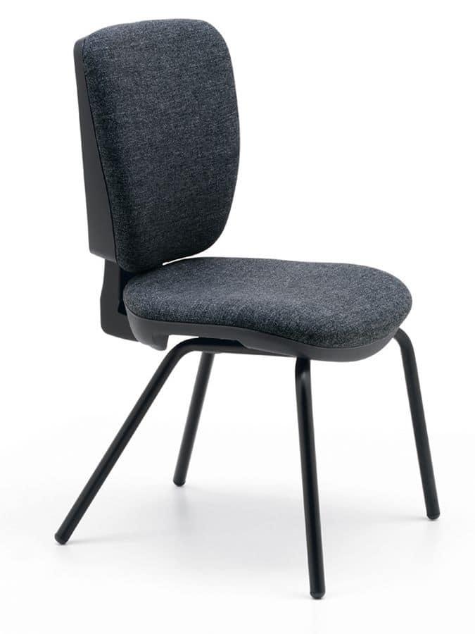 Level visitatore, Sedia ufficio, struttura in metallo, seduta e schienale imbottiti