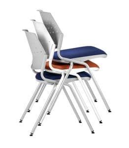 NESTING DELFIBRIO 063, Sedia ufficio impilabile con seduta imbottita
